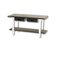 Darba galds ar metāla virsmu un divām atvilktnēm